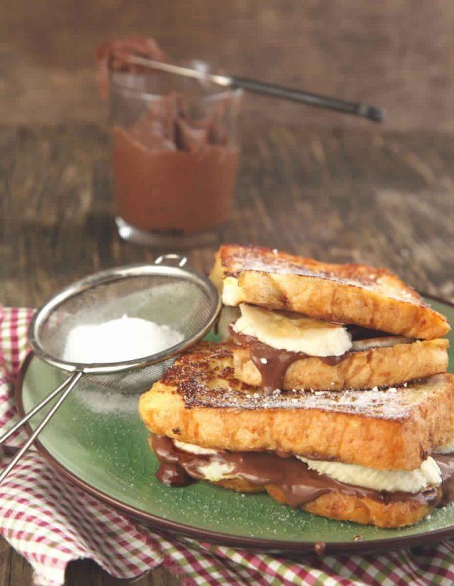 sandwich de pain perdu au nutella et banane. Black Bedroom Furniture Sets. Home Design Ideas