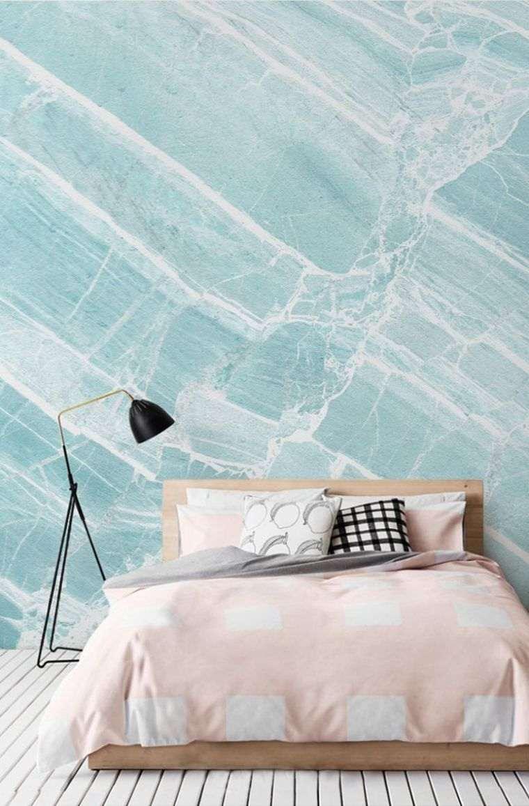 deco-mur-effet-pierre-chambre-a-coucher-couleur-bleu - Cuisine & Santé