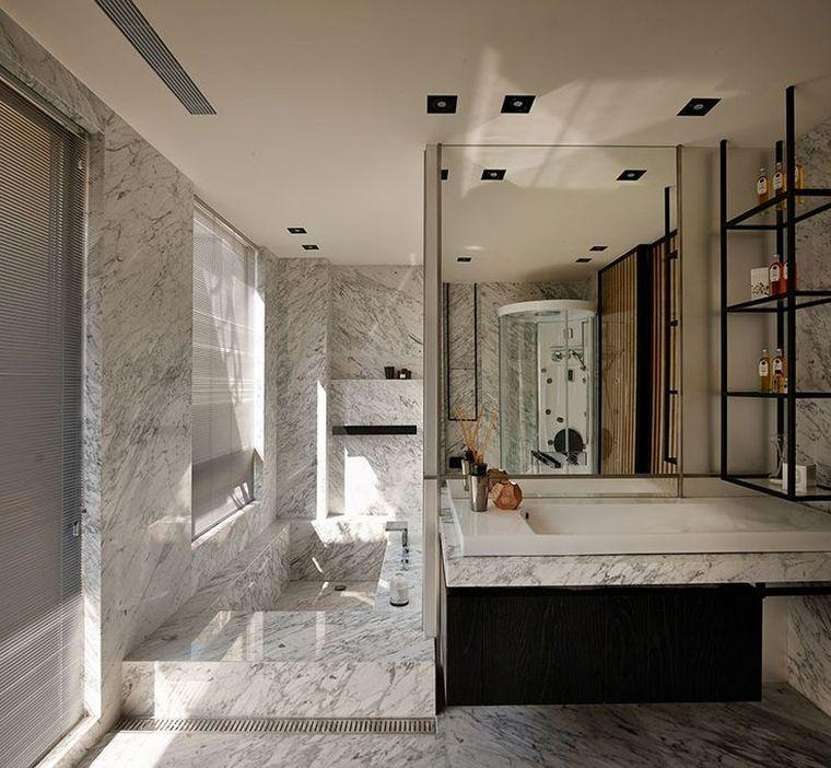 deco mur effet pierre marbre salle de bain moderne