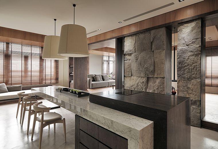 idee deco pierre interieur mur bar cuisine