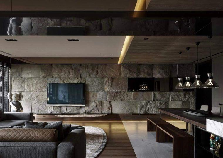 Salon Deco Pierre Parement Mural Design Interieur Moderne