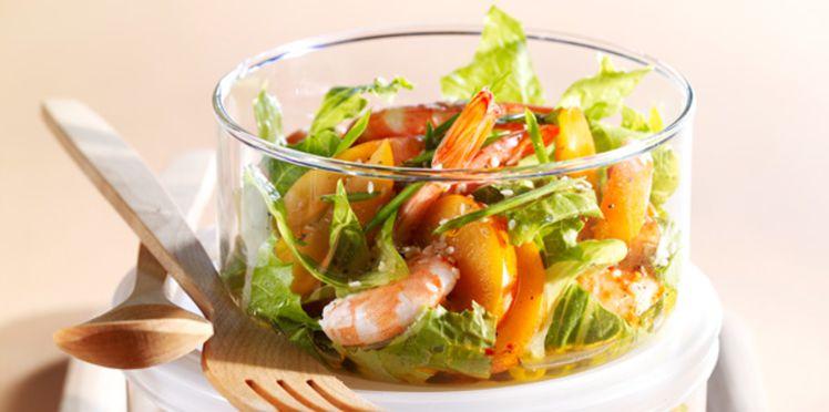 Recettes salade de crevettes et abricots au piment vert