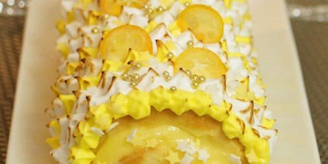 Bûche de Noël façon tarte au citron meringuée